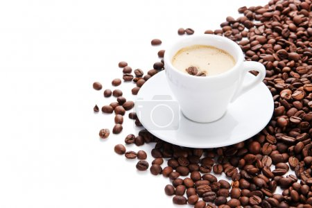 Photo for Cup of coffee with coffee beans, isolated on white - Royalty Free Image