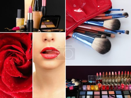 Photo for Collage of cosmetics for professional make-up - Royalty Free Image