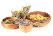 Medicinal Herbs in wooden bowls isolated on white