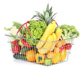 Assortment of fresh fruits and vegetables in metal basket, isolated on white
