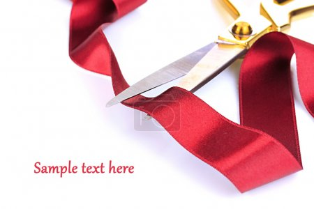 Photo for Satin ribbon curled around scissors isolated on white - Royalty Free Image
