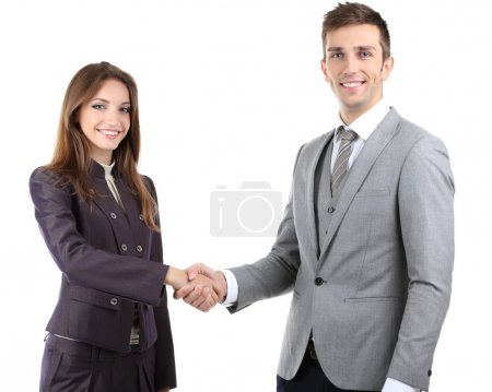 Photo for Business colleagues shaking hands isolated on white - Royalty Free Image