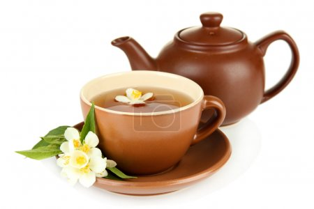 Cup of tea with jasmine, isolated on white...
