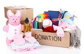 Caja de la donación aislado en blanco