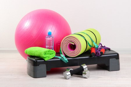 Photo for Different tools for fitness in room - Royalty Free Image