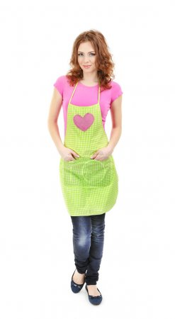 Photo for Young woman wearing kitchen apron, isolated on white - Royalty Free Image