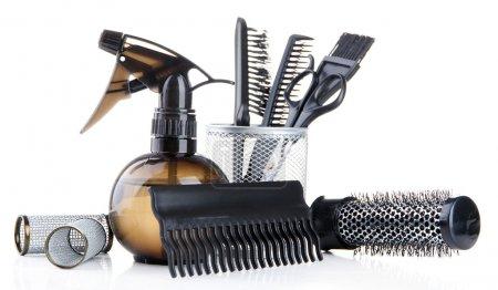 Photo pour Outils professionnels pour coiffeur, isolés sur blanc - image libre de droit