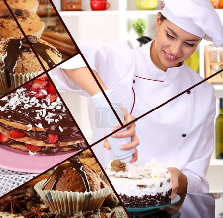 Photo for Collage of confectionery theme consisting of delicious pastries and cook - Royalty Free Image
