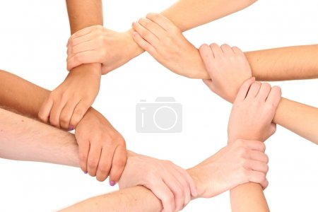 Photo for Ring of hands, isolated on white. Conceptual photo of teamwork - Royalty Free Image