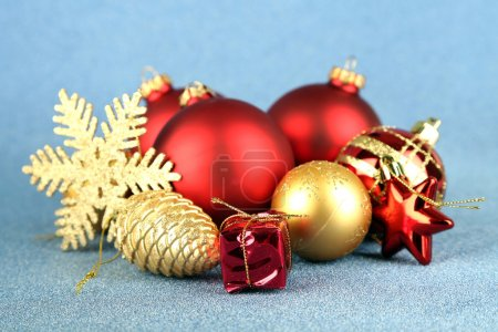 Photo for Christmas decorations on blue background - Royalty Free Image