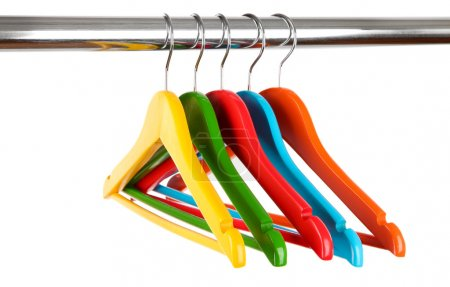 Photo for Colorful clothes hangers isolated on white - Royalty Free Image