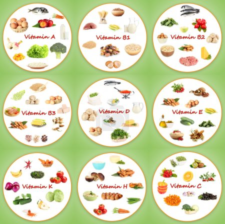 Photo for Collage of various food products containing vitamins - Royalty Free Image