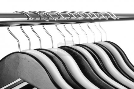 Photo for Black and white clothes hangers isolated on white - Royalty Free Image