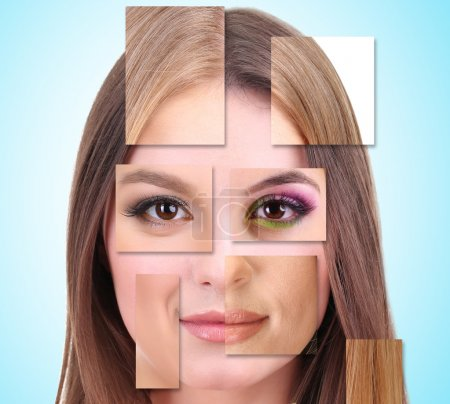 Photo for Human female face made of several different people,artistic concept - Royalty Free Image
