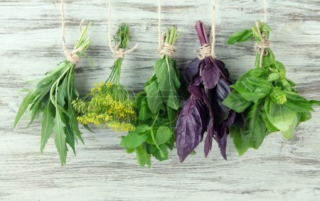 Photo for Fresh herbs on wooden background - Royalty Free Image