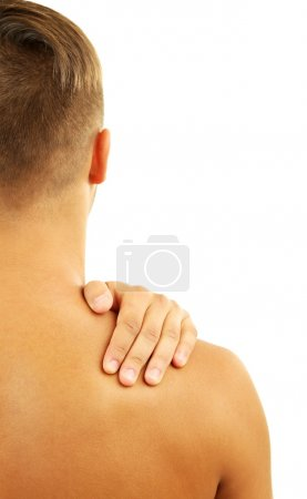 Young man with neck pain, isolated on white
