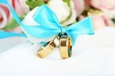 Wedding rings tied with ribbon on white fabric