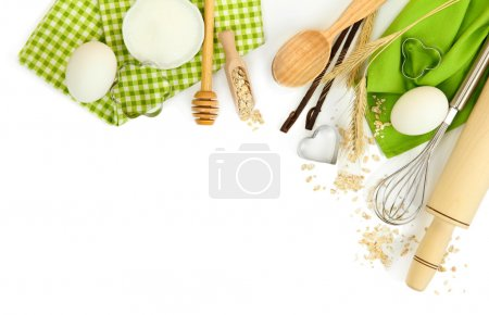 Photo for Cooking concept. Basic baking ingredients and kitchen tools isolated on white - Royalty Free Image