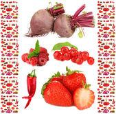 """Постер, картина, фотообои """"сбор фруктов и овощей, изолированные на белом фоне"""""""