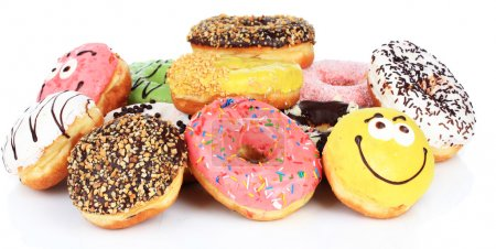 Photo for Sweet donuts isolated on white - Royalty Free Image
