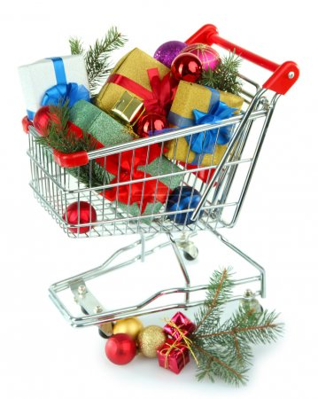 Christmas gifts in shopping trolley