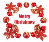 Krásné vánoční ozdoby izolované na bílém