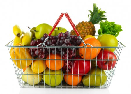 Photo for Different fruits and vegetables in metal basket isolated on white - Royalty Free Image