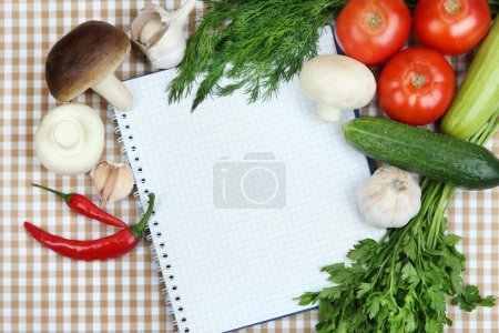 Photo for Cooking concept. Groceries with empty cookbook close up - Royalty Free Image
