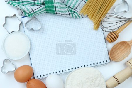 Photo for Cooking concept. Basic baking ingredients and kitchen tools close up - Royalty Free Image