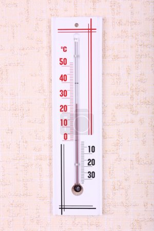 Thermometer on wall background