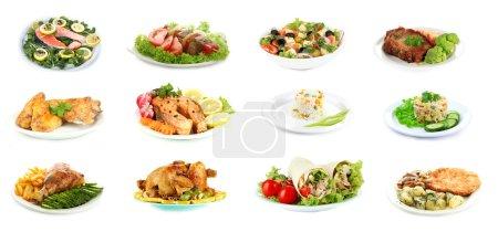 collage de plats délicieux isolé sur blanc