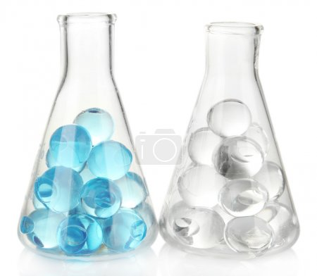 Flasks with hydrogel isolated on white