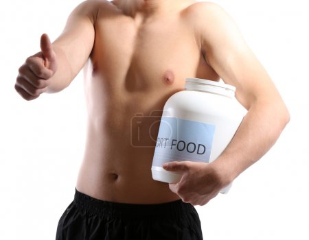 Handsome young muscular sportsman with protein food, isolated on white