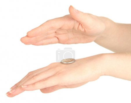 Photo for Hands of woman flipping coin isolated on white - Royalty Free Image