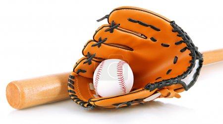 Photo pour Gant de baseball, chauve-souris et balle isolés sur blanc - image libre de droit