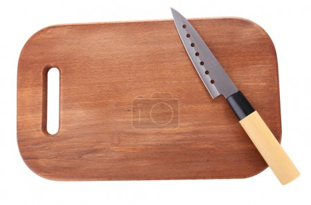 Kitchen knife and wooden cutting board ,isolated on white