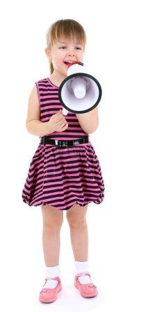 Beautiful little girl holding bullhorn isolated on white