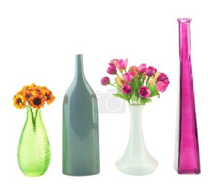 Photo pour Différents vases décoratifs isolés sur blanc - image libre de droit
