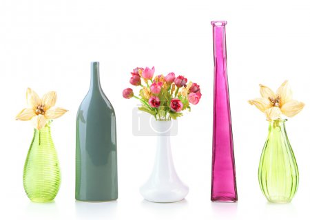 Different decorative vases isolated on white