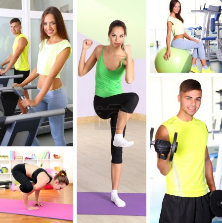 Collage of young people working out in gym