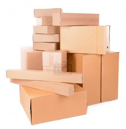 Photo for Different cardboard boxes isolated on white - Royalty Free Image