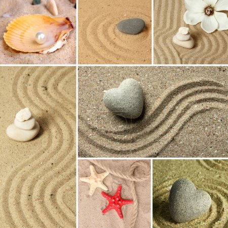 Photo pour Collage du jardin zen de sable et de pierres - image libre de droit