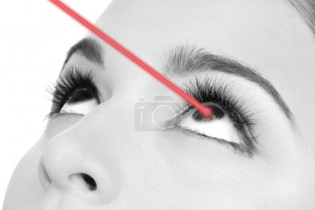 Woman eye with laser correction in shades of grey