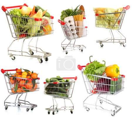 Trolleys with different products isolated on white