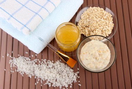 Homemade facial mask with oats and honey,on color ...