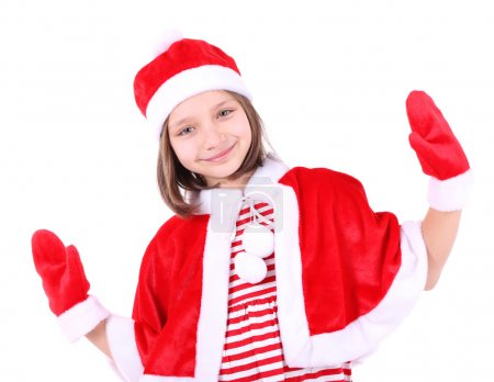 Photo for Beautiful little girl in Christmas costume, isolated on white - Royalty Free Image