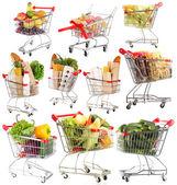 Különböző termékek elszigetelt fehér Fémszekrény