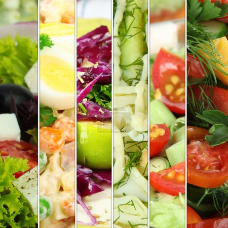 Collage of various salads...