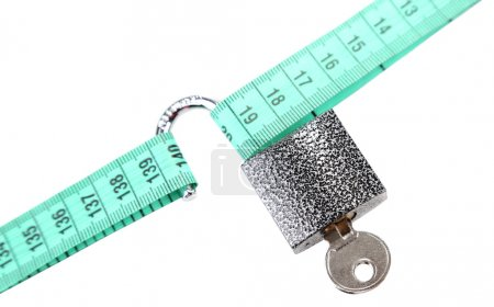 Conceptual photo of unlocking secret of weight loss, Isolated on white