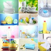 Koláž mytí nádobí, close-up